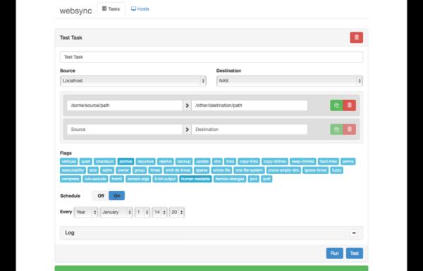 Websync le gestionnaire de tâches Rsync
