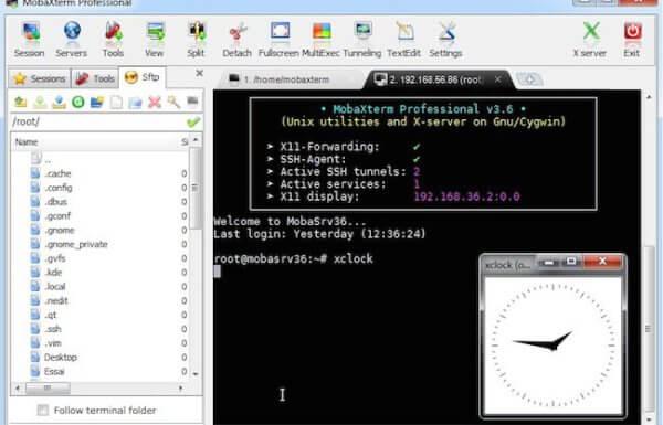Un terminal SSH avec export d'écran